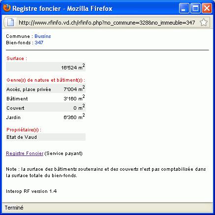 Fenêtre du registre foncier