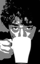 Illustration artistique du chapitre Santé et Sécurité par une photo noir-blanc postérisée d'une personne buvant une tasse d'eau
