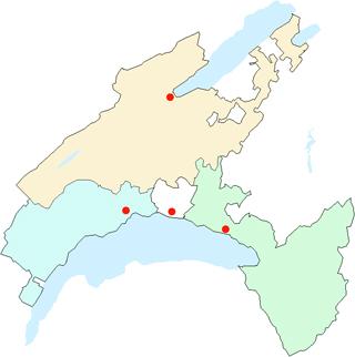 Carte des régions des offices d'état-civil